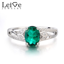 Leige Jewelry Emerald Ring Promise Ring May Birthstone Oval Cut Green Gemstone Solid 925 Sterling Silver Gifts Leaves Shape Ring