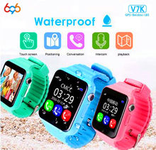 696 Children Security Anti Lost GPS Tracker Waterproof Smart Watch V7K 1.54'' Screen Camera Kid SOS Emergency Android&IOS(China)