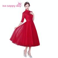 Wysoka neck burgundii krótkie wino czerwone kobiety sukienki na studniówkę ballgown dla nastolatków puffy tea ball suknia sukienka na specjalne okazje H3925