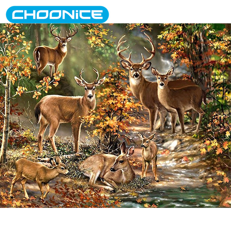 Diamond Painting Deer Landscape Garden Birch Forest Painting DIY 3D Diamond Embroidery Seven Deer Animal Nature Mosaic Drawings
