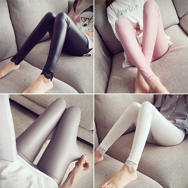 Pregnant Women Leggings Care Of Pregnant Women Belly Pants Maternity  Abdominal Thin Leather Lace Maternity Pants