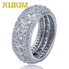 Xukim Jewelry Gold Silver Color Round 10mm Hip Hop Men's Rings Iced Out AAA Cubic Zirconia Jewelry Gifts Party цены