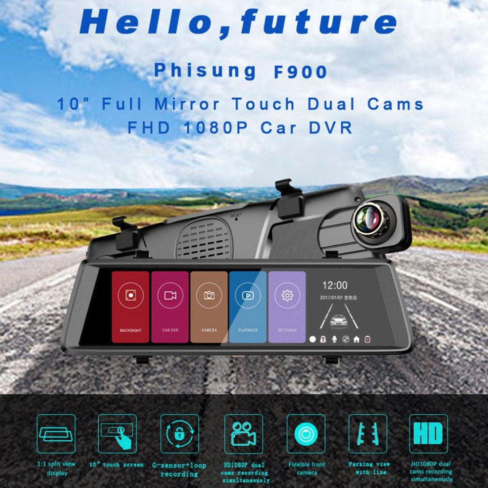 1080P Mini WiFi Car 10.0 inch Camera DVR Video Dash Cam Recorder Monitor Night Vision 140 degree APP for Android / iPhone 2017 mini 1 5 inch screen 1080p hd wifi suction car dvr data camera video recorder ir night vision 140 degree view angle