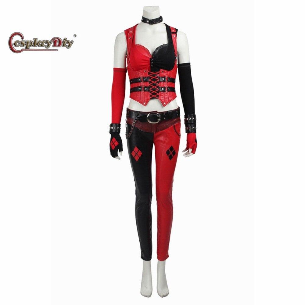 cosplaydiy arkham knight harley quinn cosplay costume red and black