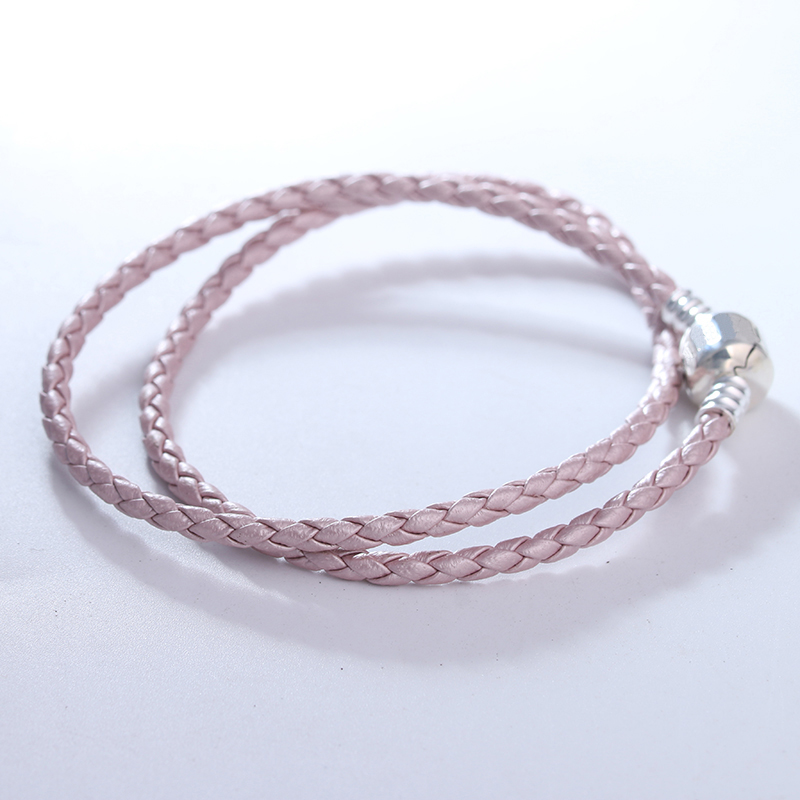 Signature Classic Silver Clasp Pearl Pink Leather Bracelets for Women Fashion DIY Jewelry Braided Rope Chain Charms BraceletsSignature Classic Silver Clasp Pearl Pink Leather Bracelets for Women Fashion DIY Jewelry Braided Rope Chain Charms Bracelets