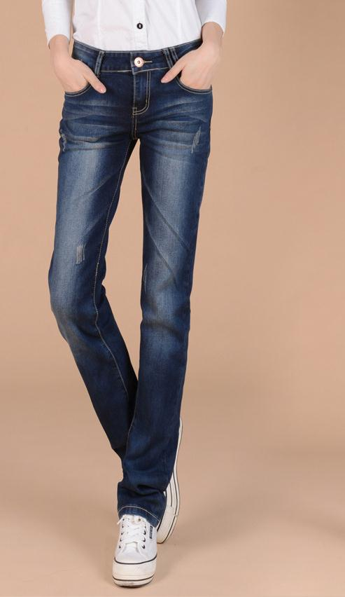 Woman spring plus size low full length jeans