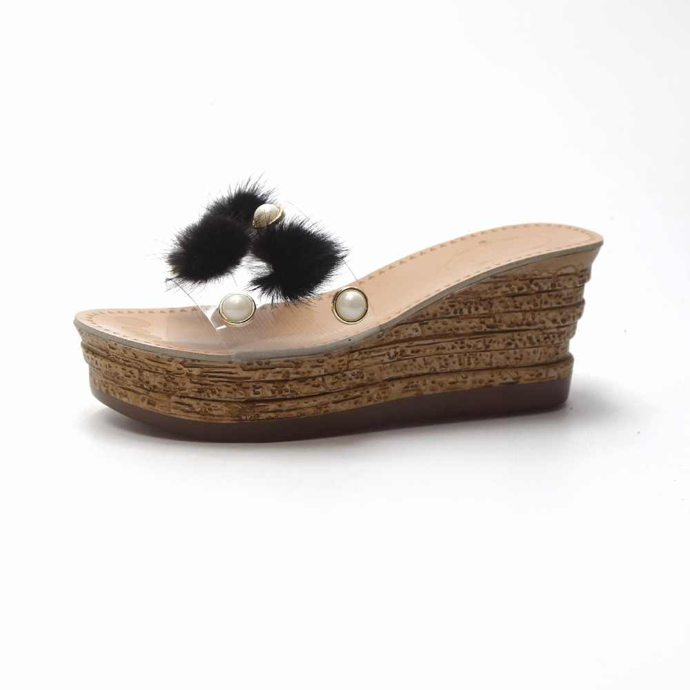 ... Hung Yau Wedge Sandals Shoes For Women Peep Toe Transparent Pearl  Female Platform Summer Sandals Jelly ... 9b7b7253f376