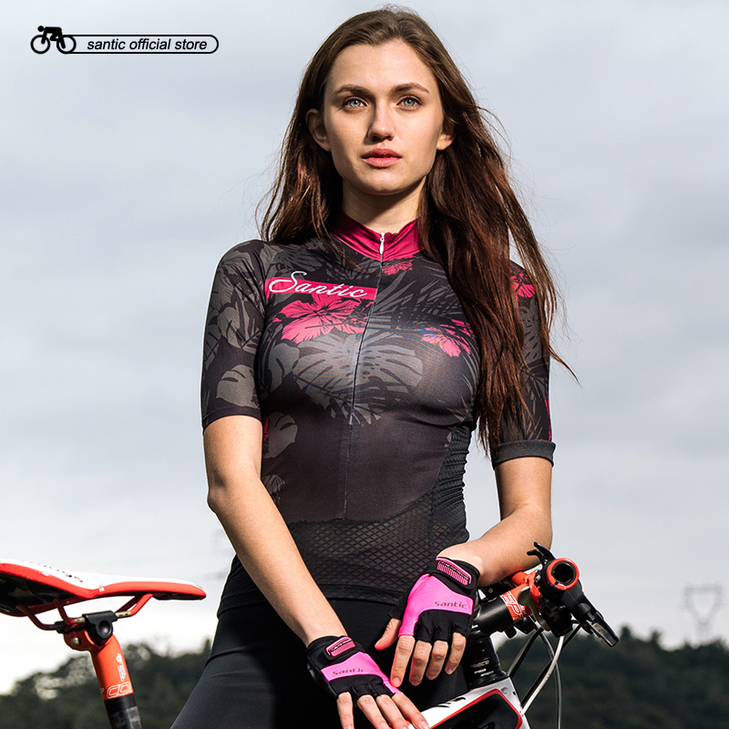 Santic Women Cycling Short Jersey Pro Fit Ladies Road MTB Bike Bicycle Jersey Short Sleeve Reflective Asian Size S-XL L8C02131 free shipping solid brass bathroom accessories set paper holder toilet brush holder bathroom sets antique brassyt 12200 2