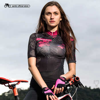 Santic Women Cycling Short Jersey Pro Fit Ladies Road MTB Bike Bicycle Jersey Short Sleeve Reflective Asian Size S-XL L8C02131 - DISCOUNT ITEM  33% OFF Sports & Entertainment