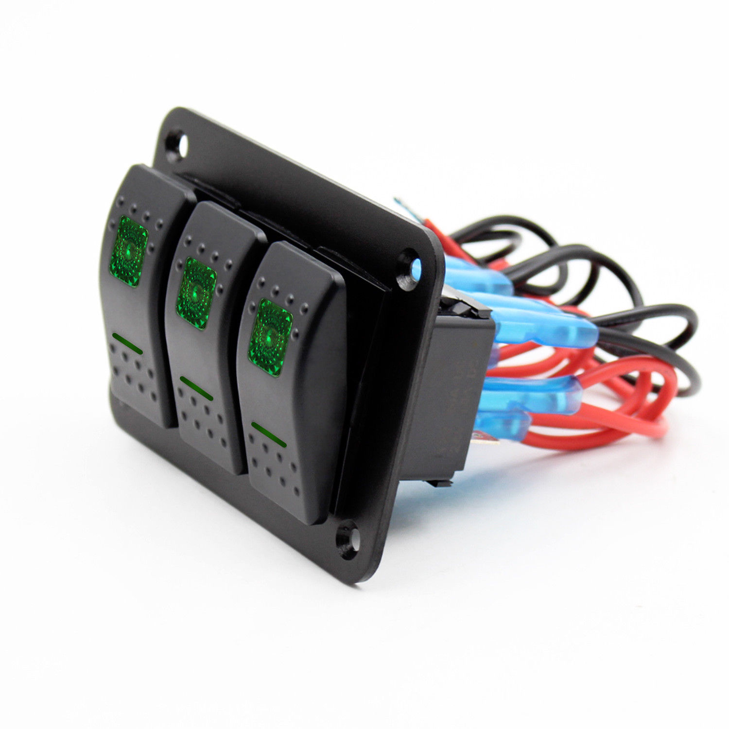 12V-24V 3 Gang Toggle Rocker Switch Panel Green LED Light IP66 waterproof On Off Car Marine Boat switch panel CE certification 12v 24v 8gang on off rock switch panel for boat marine rv yacht ship automotive toggle switches red led