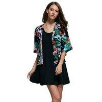 2017 حار بيع الربيع قمم النساء كيمونو سترة أزياء الأزهار المطبوعة بلوزة معطف شال camisas femininas blusa الأنثوية