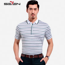 Seven7 Brand Men Casual Polo Shirts Short Sleeve Green Striped Polo Shirts Classic 100% Cotton Men Tops Tees 106T50890