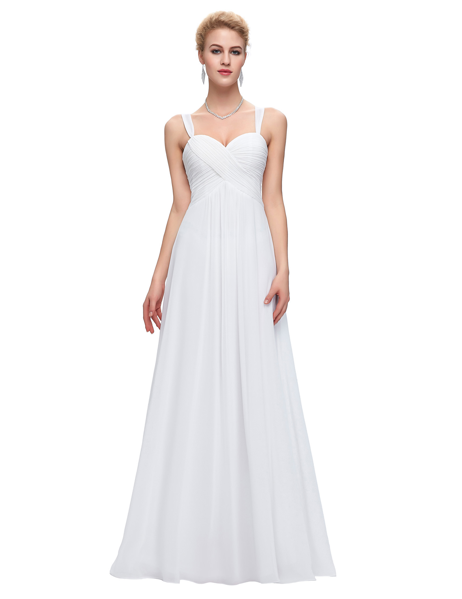 White Long Chiffon Evening Gown Sweetheart Party Formal Dress Floor ...