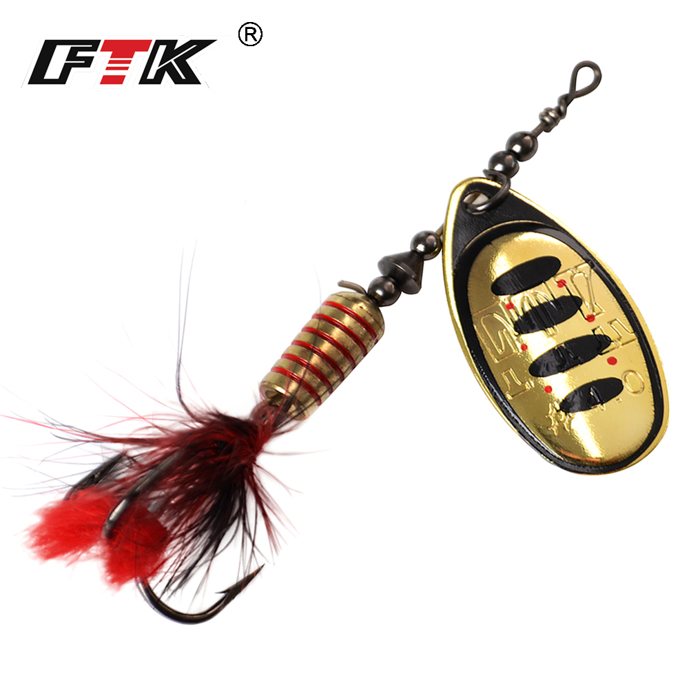 FTK 1pc Spinner Bait 7.5g 12g 17.5g Hard Spoon Bass Lures Metal Fishing Lure With Feather Treble Hooks For Pike Fishing(China)