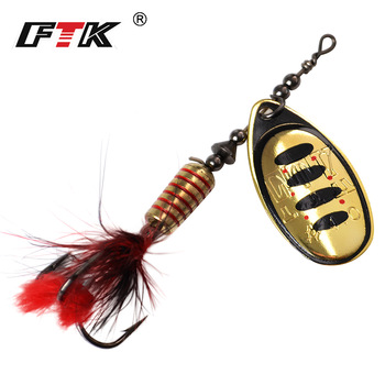 FTK 1pc Spinner Bait 7.5g 12g 17.5g Hard Spoon Bass Lures Metal Fishing Lure With Feather Treble Hooks For Pike Fishing ftk metal fishing lure spinner bait 8 5g 13g 15g spoon lures bass hard bait with feather treble hooks pike fishing tackle