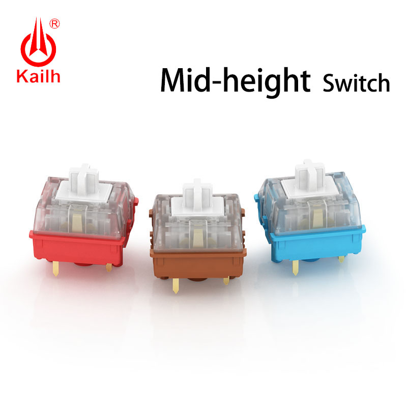 Kailh Mid-height Mechanical Switch for gaming,linear type,red/blue/brown base,12.2X12.2X11.2mm,50 million cycles image