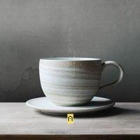 Handmade Creative Personality Zakka Japan Style ceramic cups saucers pigment milk coffee cups with handgrip porcelain drinkware