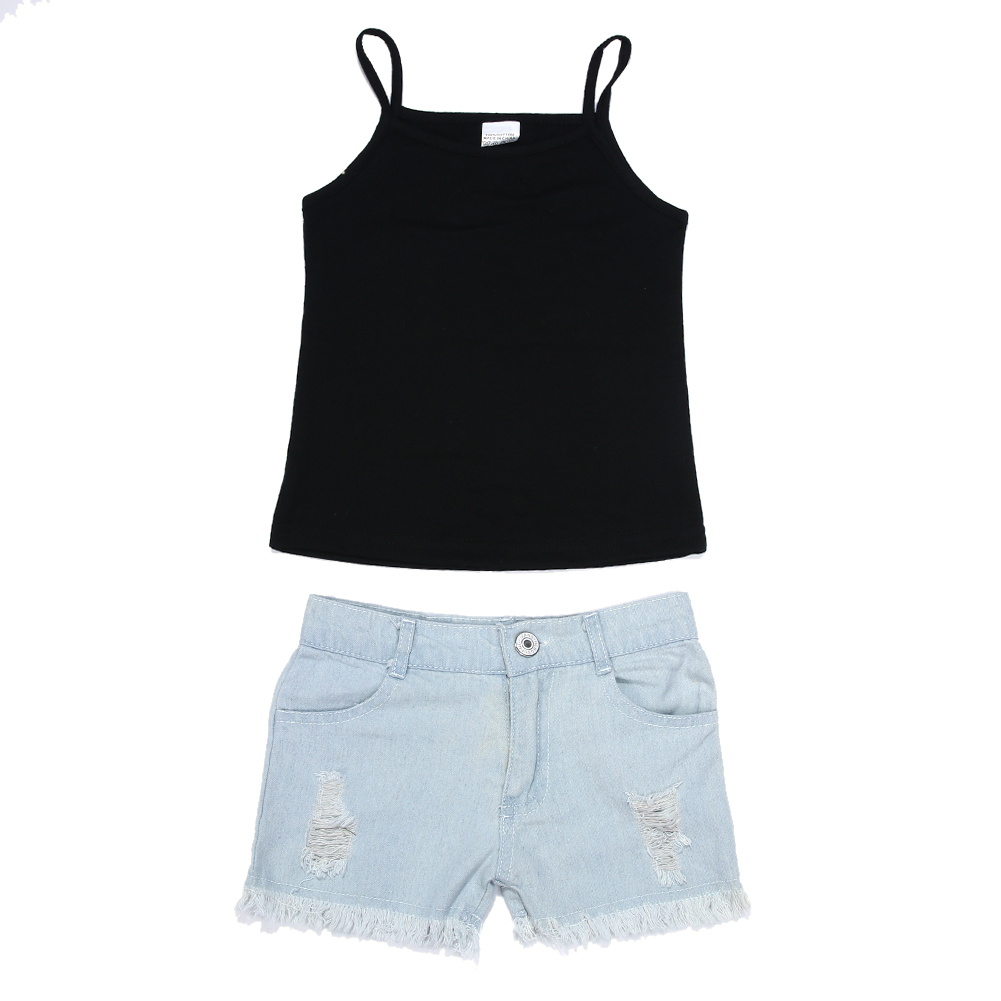 2017 Summer Children's Clothing Girls Suit 2pcs Toddler Kids Baby Girl Vest Tops And Denim Pants Shorts Outfits Clothes flower sleeveless vest t shirt tops vest shorts pants outfit girl clothes set 2pcs baby children girls kids clothing bow knot