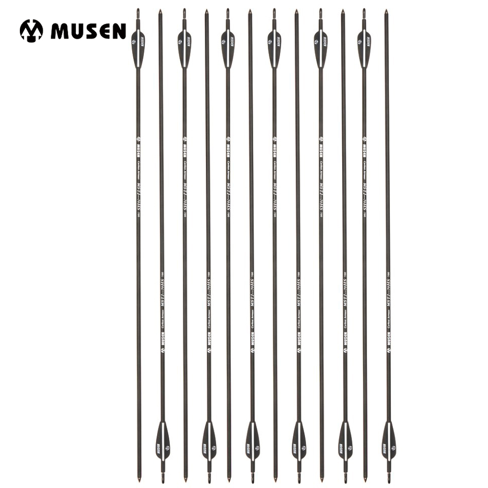 6/12/24 pcs 30 Inches Carbon Arrow OD 7mm Spine 700 with Plastic Feather for 40lbs Bows Outdoor Archery Hunting Shooting spine lady 357 40