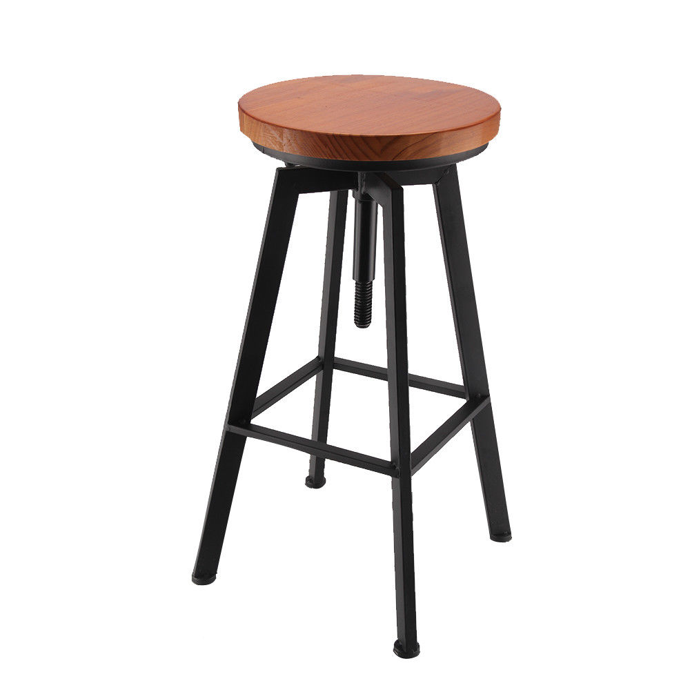 Industrial Vintage Rustic Bar Stool Retro Barstool Wood Chair Kitchen Adjustable