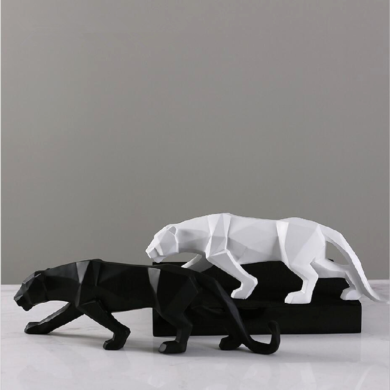 Leopard Resin Crafts Ornaments Home Black Panther Sculpture Geometric Statue Wildlife Art Decor Gift Origami Abstract
