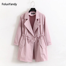 4 XL Plus Size Women Trench Outerwear Pink Black Gray Casual Loose Long Coat KKFY1039