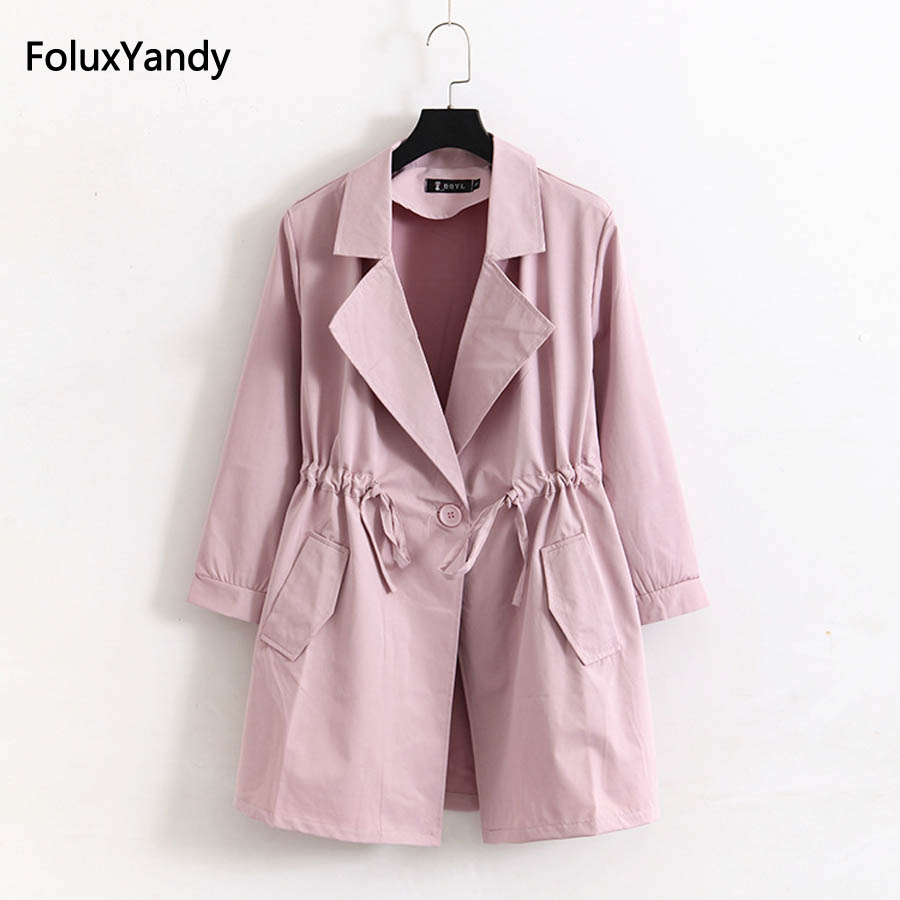 4 XL Plus Size Women   Trench   Outerwear Pink Black Gray Casual Loose Long   Trench   Coat KKFY1039