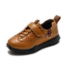 2018 New Spring Autumn Children's Shoe Boys Pure Color Black Brown Blue Genuine Leather Shoes Boy Children Leisure Leather Shoes