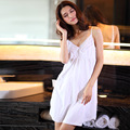 Sexy Sexy Princess cotton Nightgown sling in spring and summer V deep Pure White Sleeveless gown Home Furnishing leisure suit