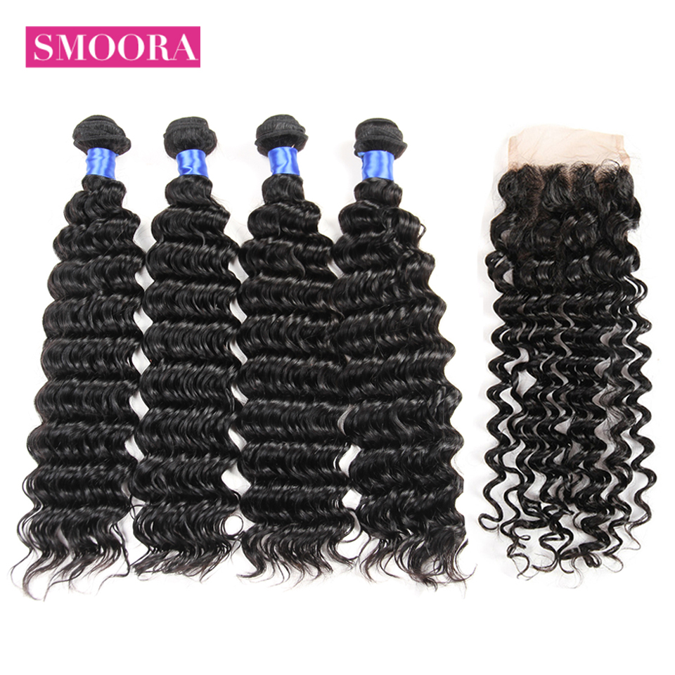 Smoora Human Hair 4 Bundles With Closure Brazilian Deep Wave with 4*4 Closure Free Middle Three Part Deep Curl Non Remy 5Pcs/Lot
