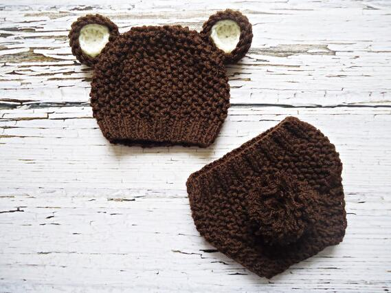Бесплатная доставка, милый ребенок, шляпа ребенка, трикотажная шапочка с ушками, коричневый Мишка Hat ничуть подгузник, сделанные на заказ nb-3m ...