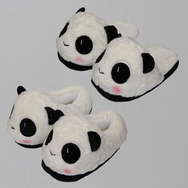 2 Styles Panda Slippers Panda Soft Plush Shoes House Winter Shoes Keychain Slippers 28cm