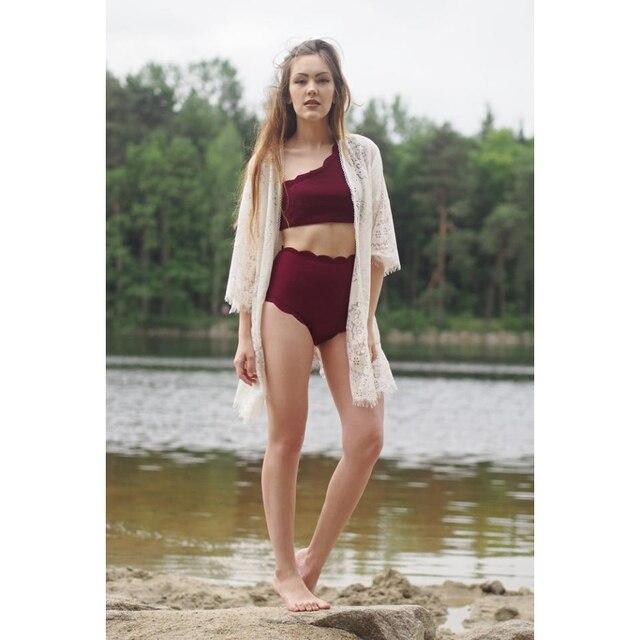 10f254d68d LANGSTAR One Shoulder Woman Bikini Set 2018 Scalloped Swimwear Wave Edge  Women Swimsuit Biquinis Bathing Suits Maillot De Bain