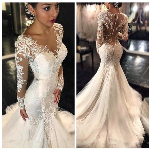 2017 New Gorgeous Lace Mermaid Wedding Dress Dubai African Arabic With Skin Top Pee Long Sleeves