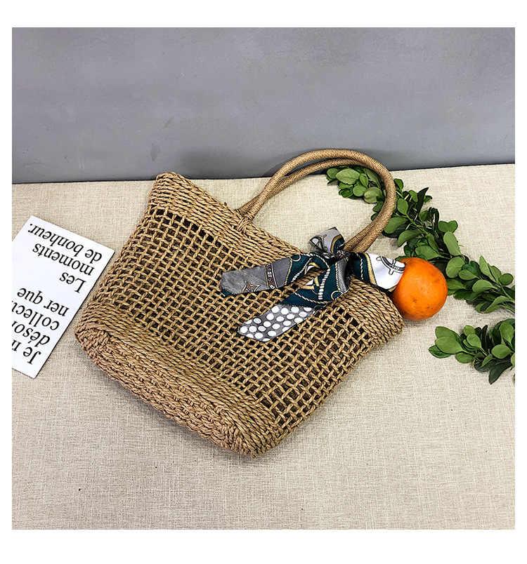 Новые бумажные веревки соломенные сумки для женщин большой круг пляжные сумки летняя винтажная плетеная Сумка из ротанга ручная работа Kintted дорожные сумки N-11-60