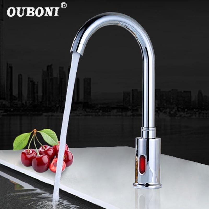 все цены на OUBONI New Auto-Sensor Faucet Modern Kitchen Bathroom Automatic Hands Touch Free Sensor Basin Chrome Brass Sink Mixer Tap Faucet