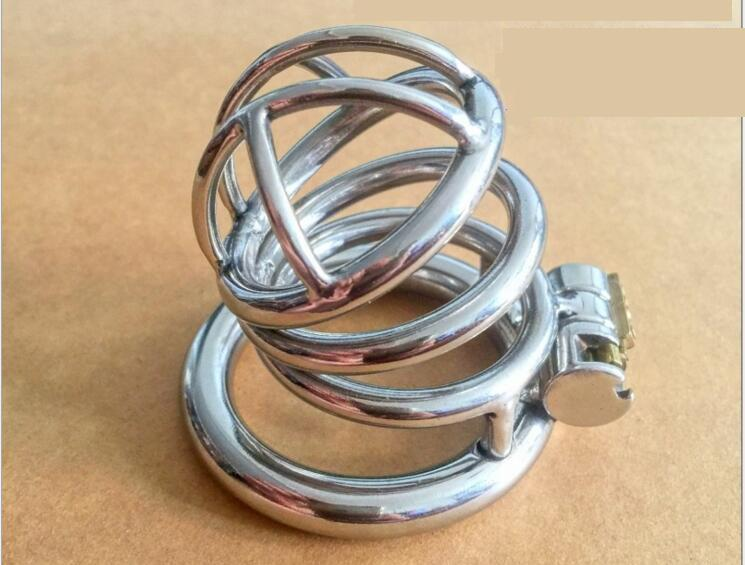2018 Latest Stainless Steel Design Male Chastity Devices Metal Cage Cock Lock