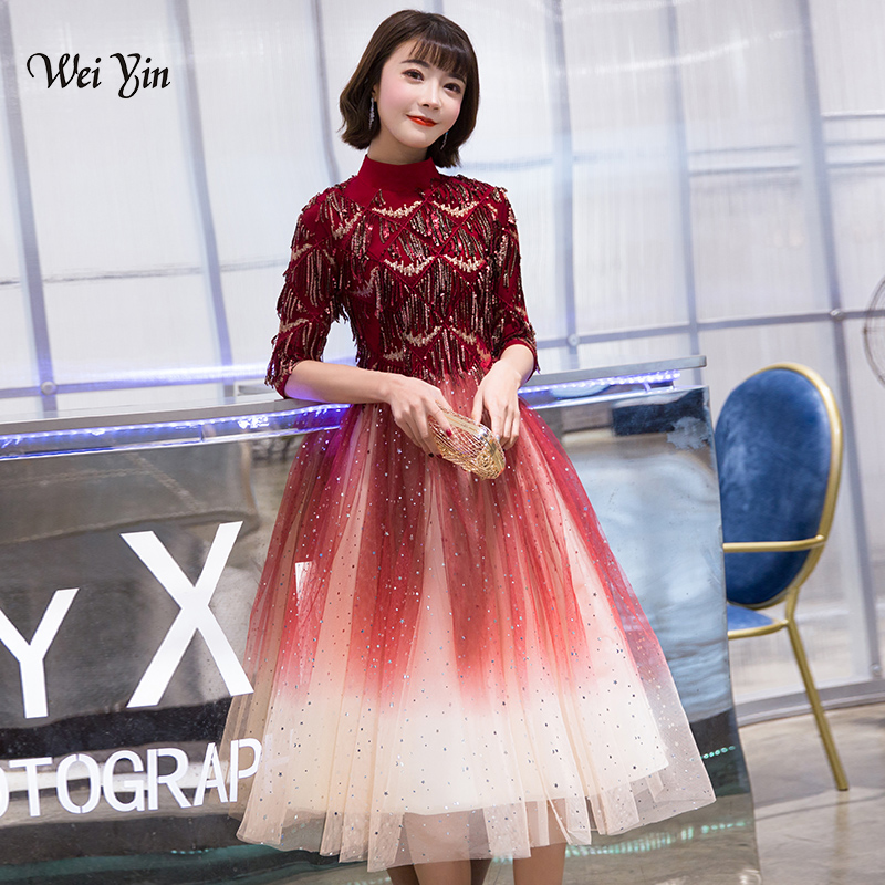 weiyin 2019 Wine Red Popular Elegant   Evening     Dresses   Bling Sequined Famous Designer Short Sleeve Party Formal   Dress   WY1268