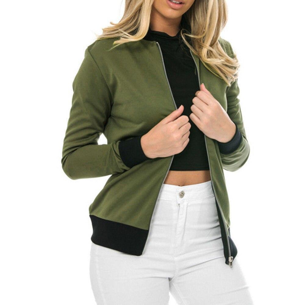 Fashion Army Green Zipper Bomber Jacket Women Basic Coats Ladies