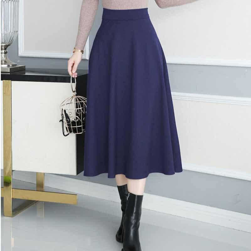 1c7c278f38658 Women Skirts High Waist Skirt Autumn faldas mujer 2018 Plus Size Women  Elegant Tutu Long Pleated Skirts Black Red Navy Skirts
