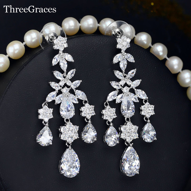 Luxury Evening Party Costume Jewelry Swiss Cubic Zirconia Long Dangle Bridal Bohemian Chandelier Earrings For Women