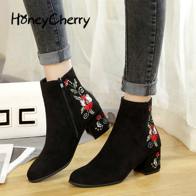 New Embroidered Boots 2008 Winter National Style Embroidered Boots Black Suede Large Size Short Barrel Thick Heel Boots
