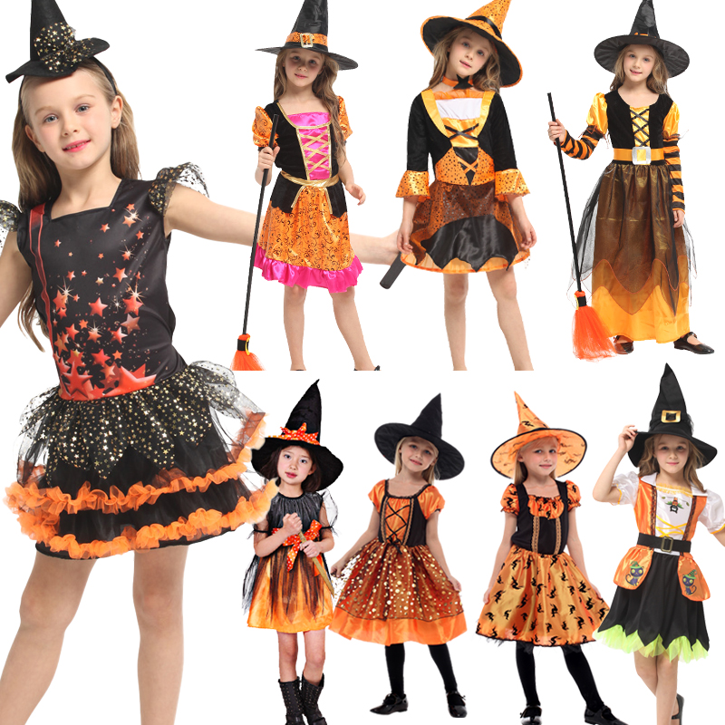 Free Shipping Halloween Kids Witch With Hat Cosplay Costumes Shows Costumes Girls Witches Cloaks Witches Jumpsuits Dress Up