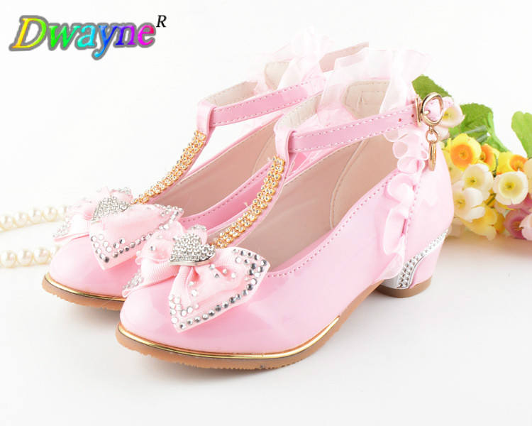 Dwayne Girls Princess Lace Beauty page Holiday Love Shoes Flower Party Heels Childrens shoes Fashion Bow Spring shoes