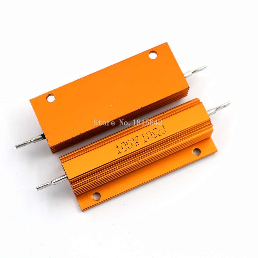 RX24 100W 10R 10RJ 100 Watt Metal Shell Aluminium Gold Resistor High Power Heatsink Resistance Golden Heat Sink Resistor 10 ohm