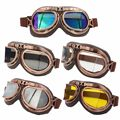 Vintage Motorcycle Goggles Retro Aviator Pilot Cruiser Steampunk Motocross Classic Goggles ATV Bike UV Protection Copper Multi