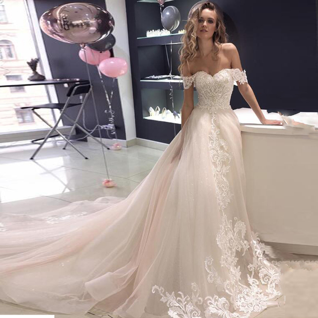 Sequined Tulle Sweetheart Neckline A line Wedding Dresses with Beaded Lace Applique Bridal Dress Zipper vestido de novia