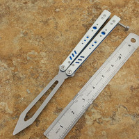 White Replicant Butterfly Trainer Knife D2 Blade G10 Handle Free-swinging EDC Knife Outdoor Camping Hunting Folding Pocket Knife
