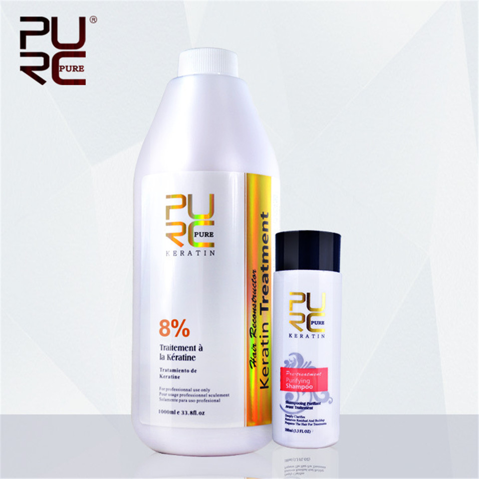2PCS set PURC 8 Formalin 1000ml Brazilian Chocolate Keratin Hair Treatment 100ml Purifying Shampoo Hair Care