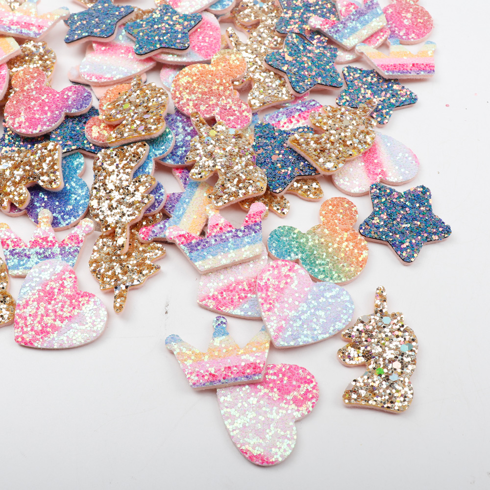 59a8f516d9 US $1.49 22% OFF|Aliexpress.com : Buy Rainbow Glitter Sequin Patches For  Clothing Crown Heart Cartoon Sew On Cloth Patches Garment Decorative DIY ...